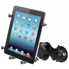 "Double Suction Cup Mount with Long Double Socket Arm and Universal X-Grip® Holder for 10"" Tablets"